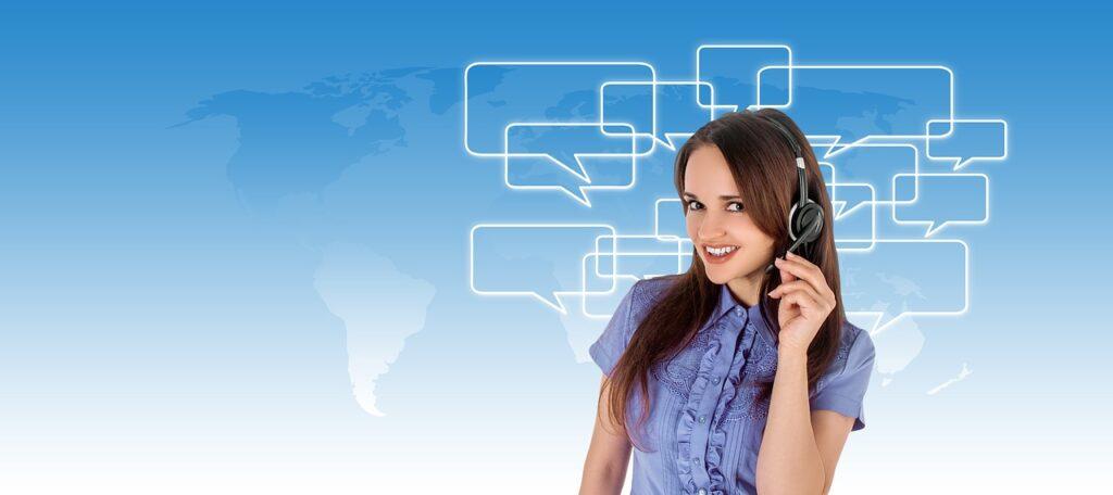 call center, headset, woman
